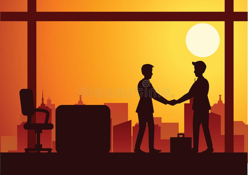 Vector illustration of a handshake of two businessmen,silhouette style sunset orange cityscape background vector illustration