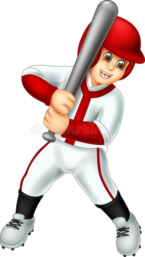 Handsome baseball player cartoon standing bring stick with laughing. Vector illustration of handsome baseball player cartoon standing bring stick with laughing vector illustration