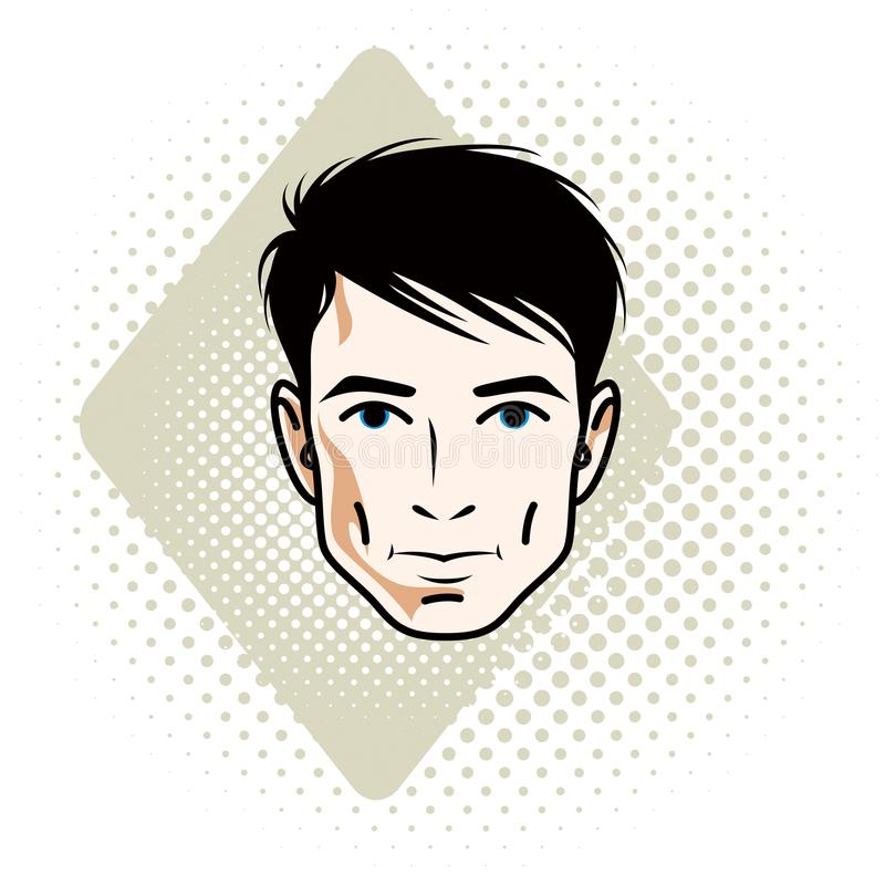 Vector illustration of handsome brunet male face, positive face. Features, clipart vector illustration