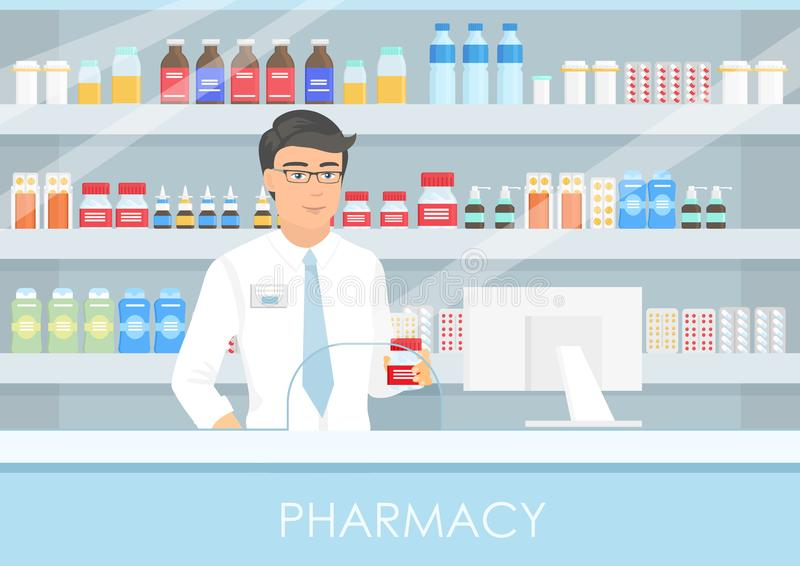 Vector illustration of a handsome male pharmacist at a pharmacy counter. a pharmacist, a shelf of medicine, capsules and vector illustration