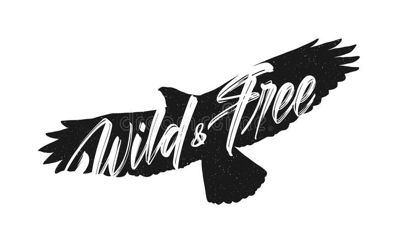 Vector illustration: Handwritten brush lettering of Wild and Free on silhouette of flying hawk background.  stock illustration