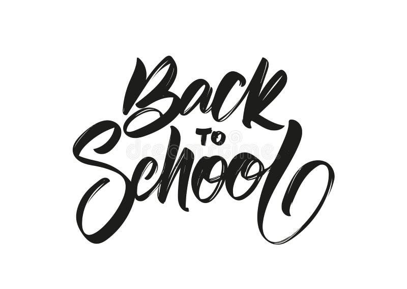 Vector illustration: Handwritten brush type lettering of Back to School on white background. royalty free illustration