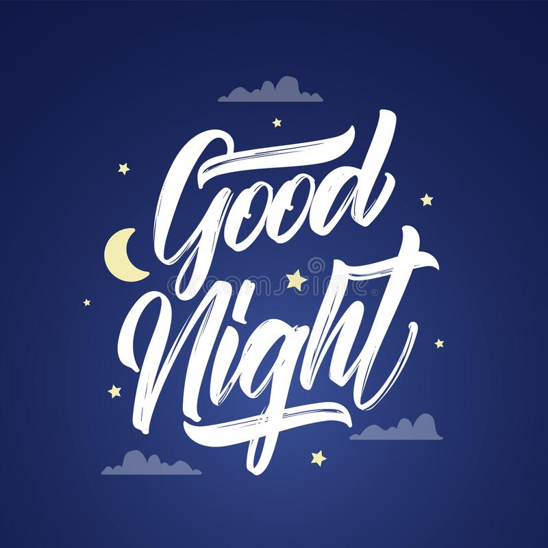 Vector illustration: Handwritten brush type lettring of Good Night with moon and stars on sky background. Vector illustration: Handwritten brush type lettring stock illustration
