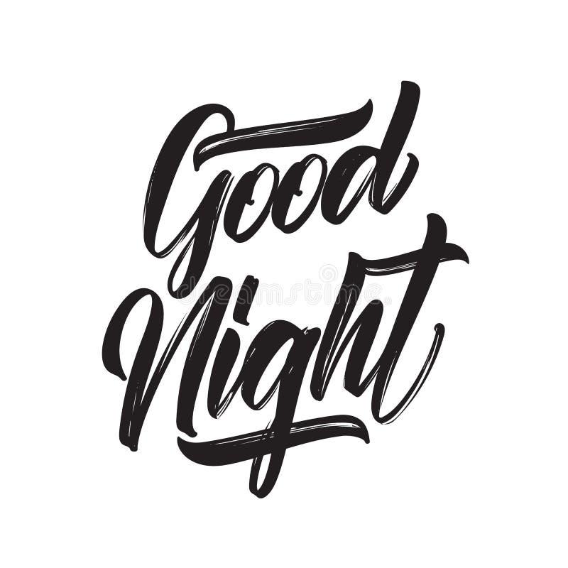 Vector illustration: Handwritten brush type lettring of Good Night on white background. Vector illustration: Handwritten brush type lettring of Good Night on stock illustration