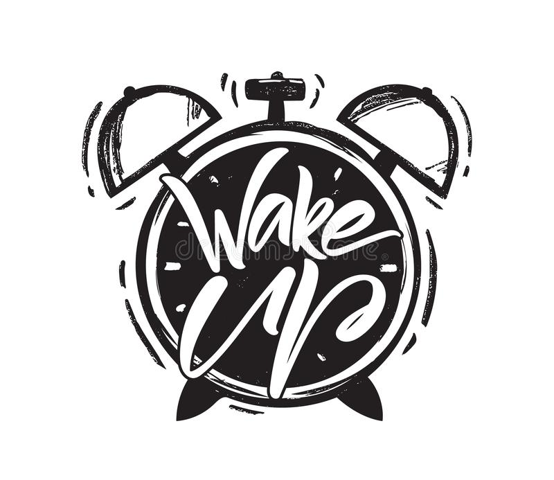Vector illustration: Handwritten brush type lettring of Wake Up with hand drawn Alarm Clock on white background. vector illustration