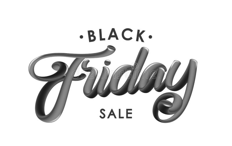 Vector illustration: Handwritten 3D glossy calligraphic lettering of Black Friday Sale on white background. vector illustration