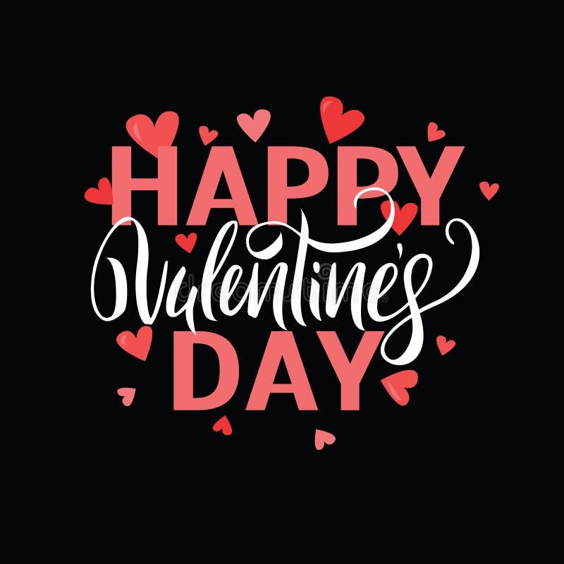Vector illustration. Handwritten elegant modern brush lettering of Happy Valentines Day with hearts on black background. stock illustration