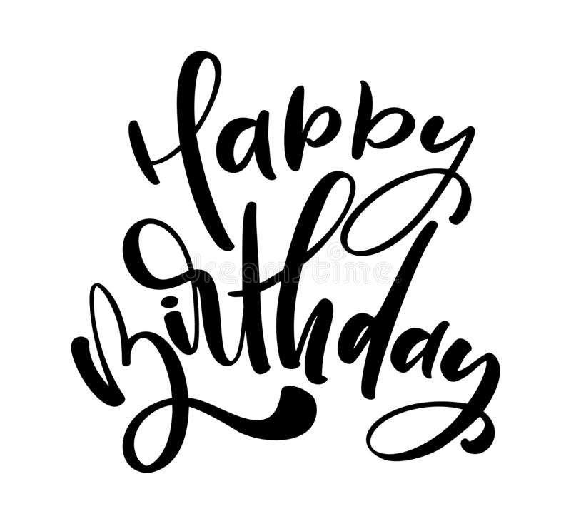 Vector illustration handwritten modern brush lettering of Happy Birthday text on white background. Hand drawn typography design. vector illustration
