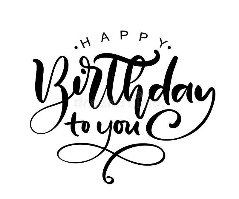 Vector illustration handwritten modern brush lettering of Happy Birthday text on white background. Hand drawn typography design. royalty free illustration