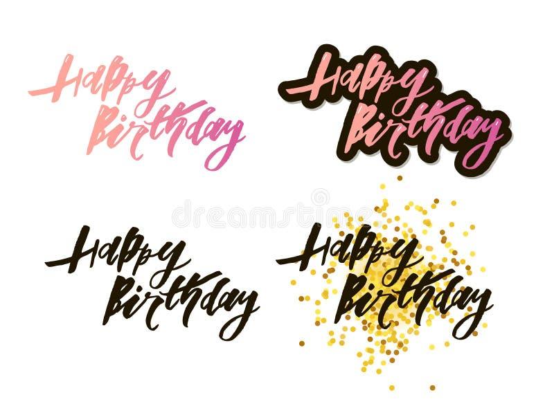 Vector illustration: Handwritten modern brush lettering of Happy Birthday on white background. Typography design royalty free illustration