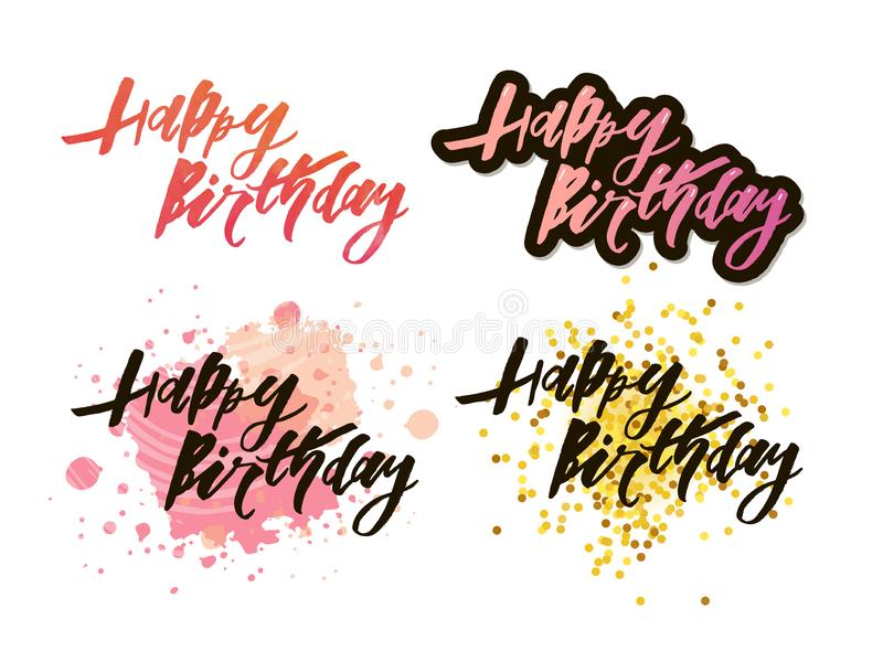 Vector illustration: Handwritten modern brush lettering of Happy Birthday on white background. Typography design. Greetings card. Vector illustration royalty free illustration