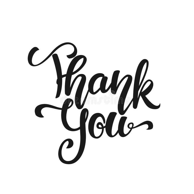 Vector illustration: Handwritten modern brush lettering of Thank You on white background. royalty free illustration