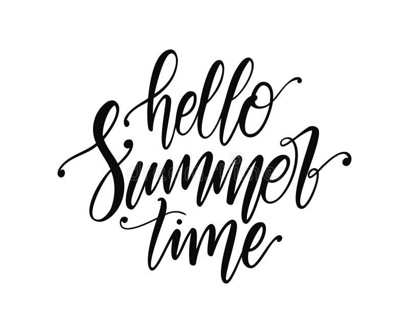 Vector illustration: Handwritten type lettering of Hello Summer Time. Handwritten type lettering of Hello Summer Time royalty free illustration