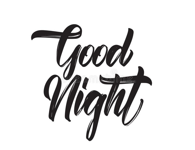 Vector illustration: Handwritten type lettring of Good Night on white background. Vector illustration: Handwritten type lettring of Good Night on white royalty free illustration