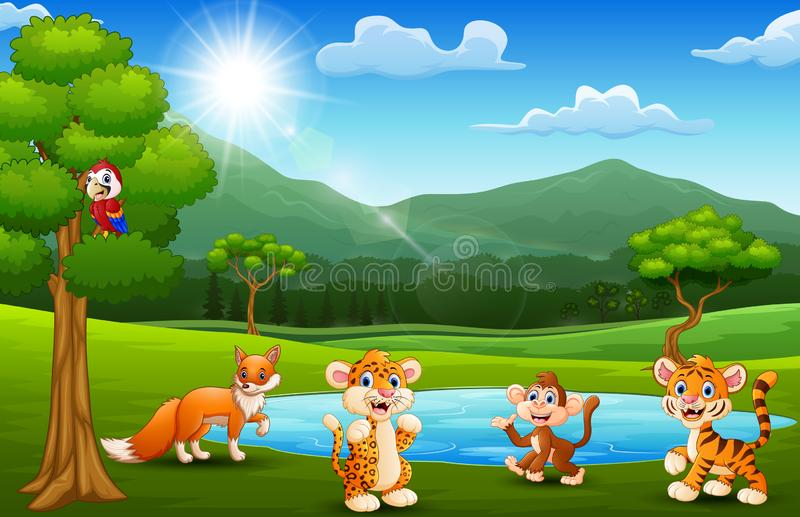 Happy animals playing next to small ponds with mountain scenery stock illustration