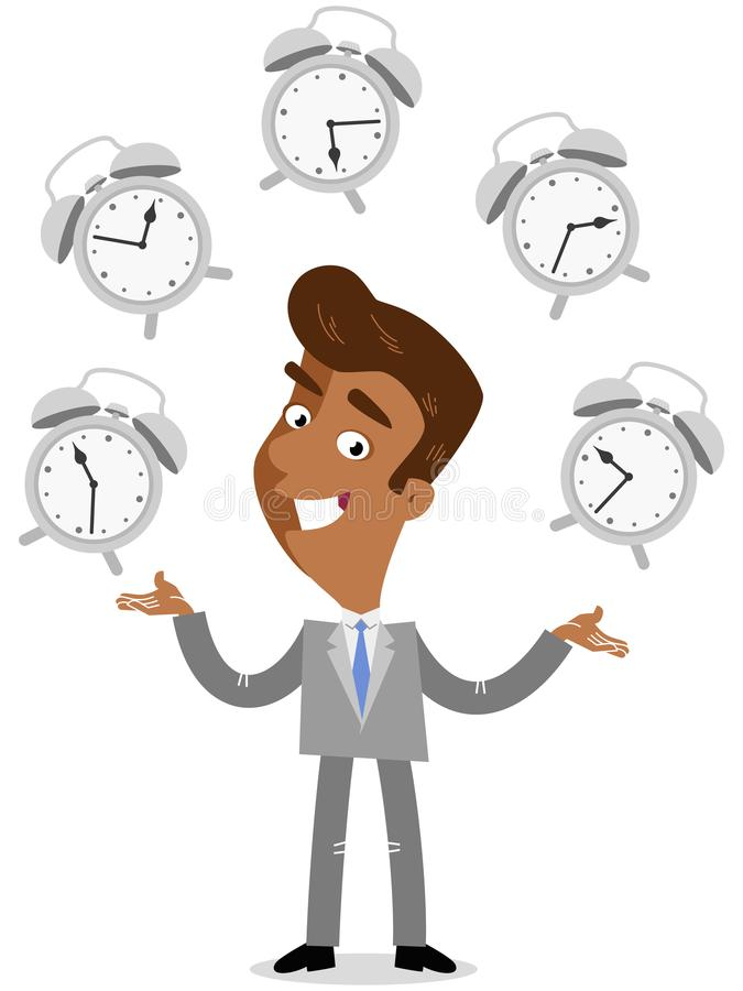 Vector illustration of a smiling asian cartoon businessman juggling with alarm clocks, symbolizing time management. Vector illustration of a happy asian cartoon royalty free illustration