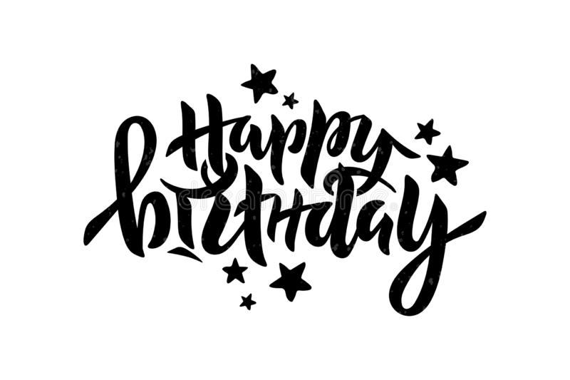 Vector illustration of Happy Birthday inscription for party, anniversary. Lettering for greeting card, event decor. royalty free illustration