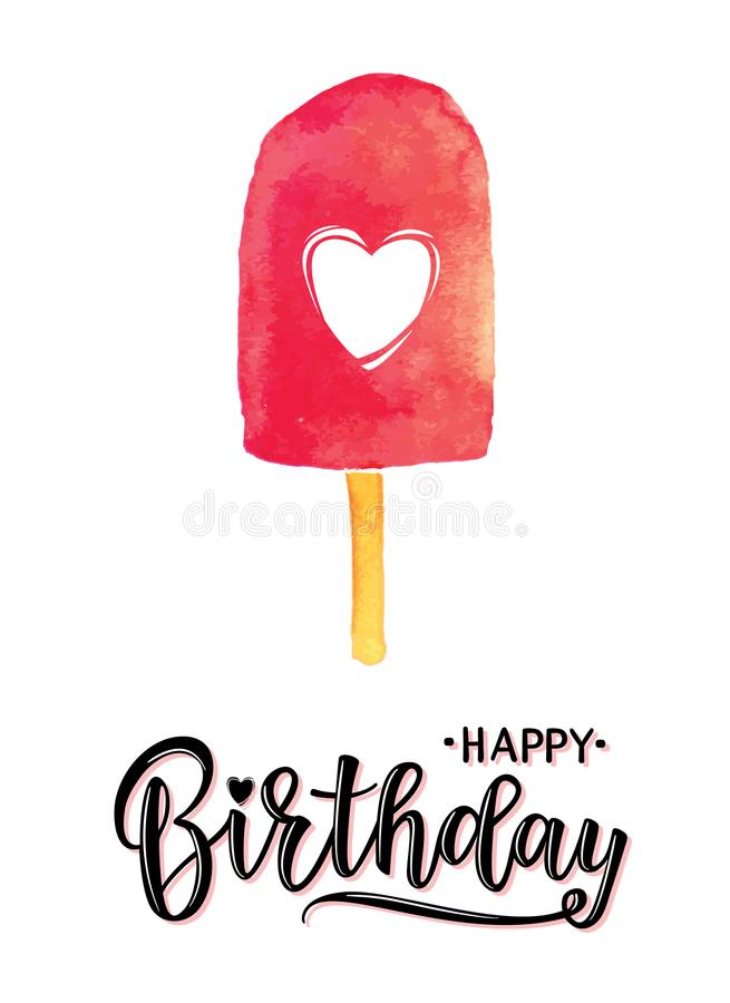 Vector illustration of a Happy Birthday Invitation. With ice cream. Greeting card with `Happy Birthday` inscription. Can be used for cards, flyers, posters, t royalty free illustration