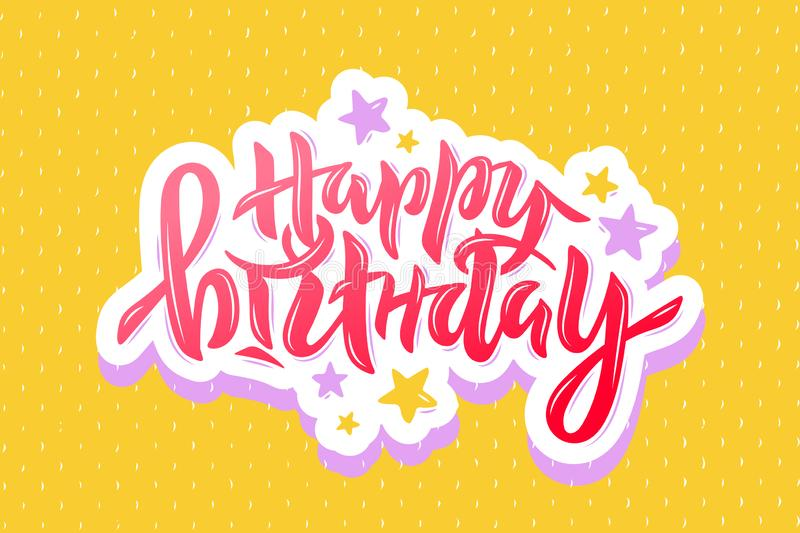 Vector illustration of Happy Birthday text with stars for birthday, anniversary. Lettering for card, event decor. EPS 10 royalty free illustration
