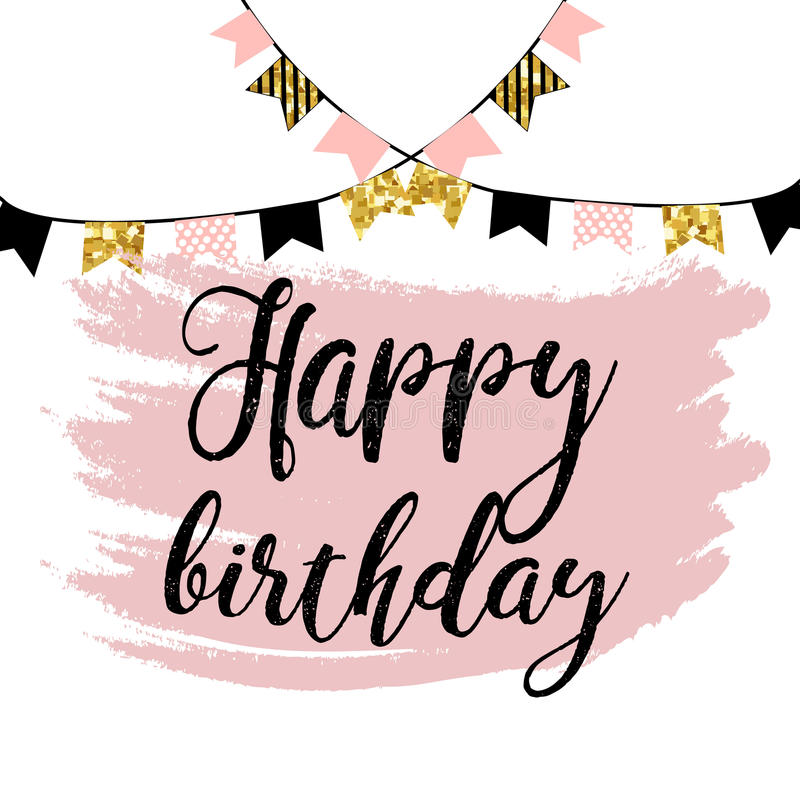 Vector illustration: Happy Birthday on white background. Typography design. Greetings card. royalty free illustration