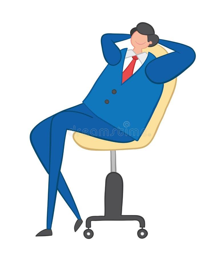 Vector illustration happy businessman sitting on office chair. Hand drawn vector illustration