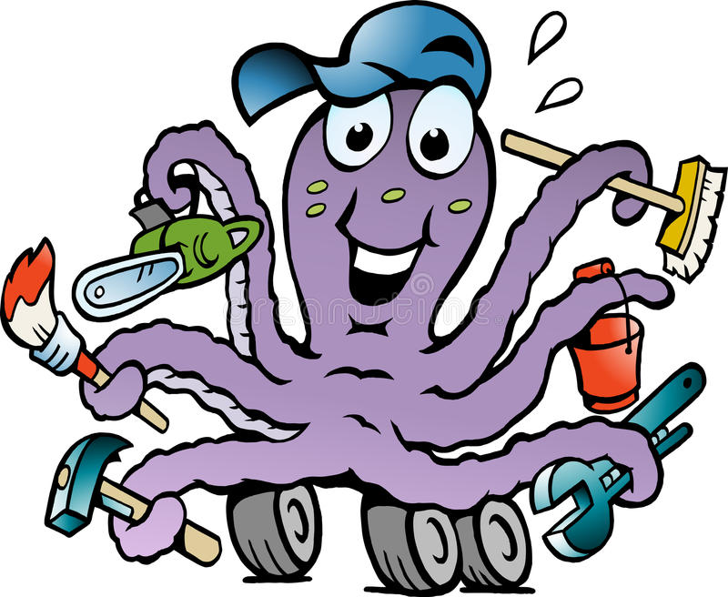 Download Vector Illustration Of An Happy Busy Octopus Stock Vector - Illustration of busy, smile: 28725977