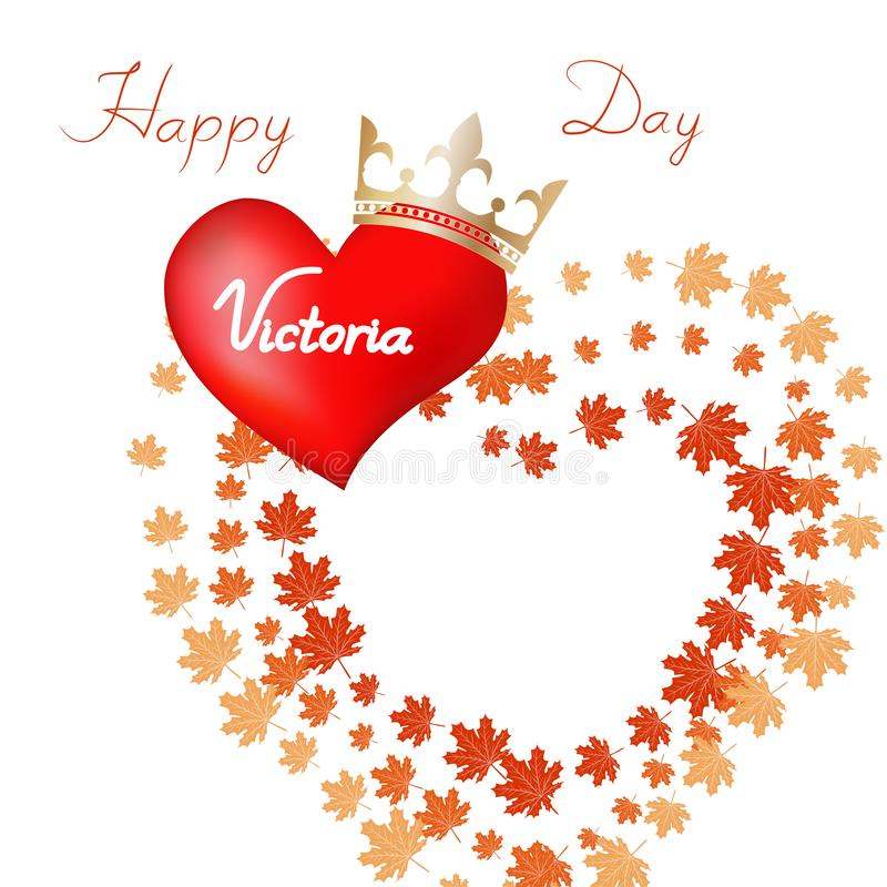 Vector illustration of Happy celebrate Victoria Day. Canada maple Leaf for celebrate the Victoria day royalty free illustration