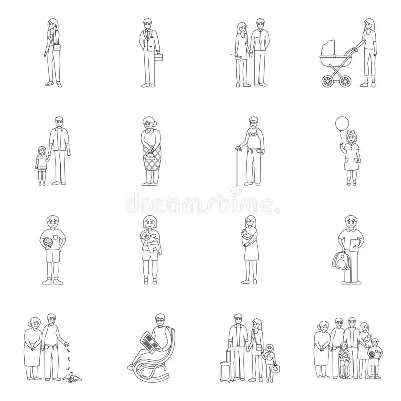 Vector illustration of happy and character sign. Collection of happy and portrait stock symbol for web. Isolated object of happy and character logo. Set of stock illustration