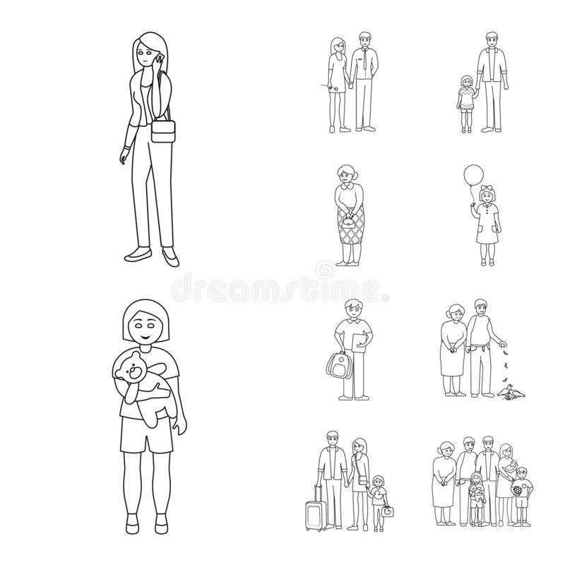 Vector illustration of happy and character sign. Collection of happy and portrait vector icon for stock. Isolated object of happy and character logo. Set of stock illustration
