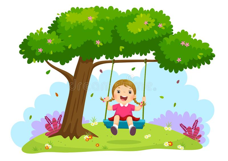 Happy child girl laughing and swinging on a swing under the tree. Vector illustration of happy child girl laughing and swinging on a swing under the tree