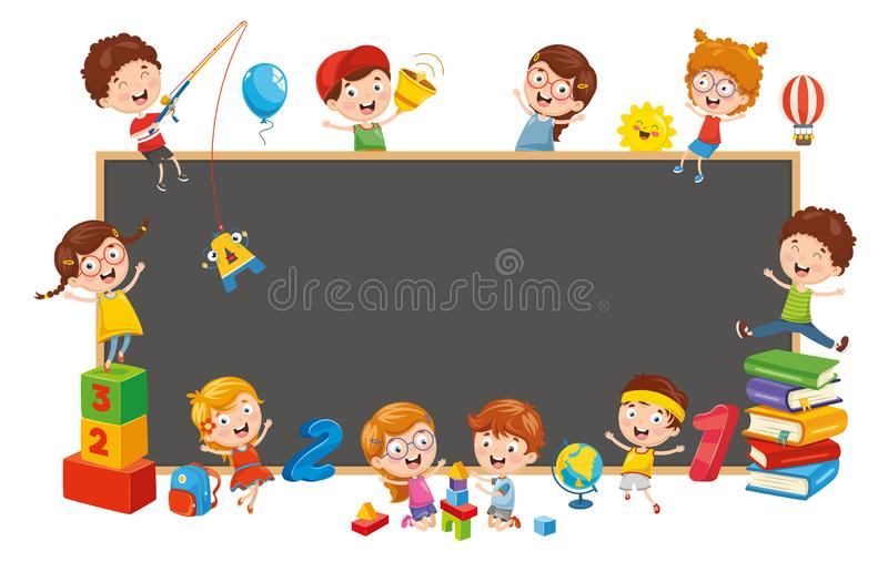 Vector Illustration Of Happy Children stock illustration