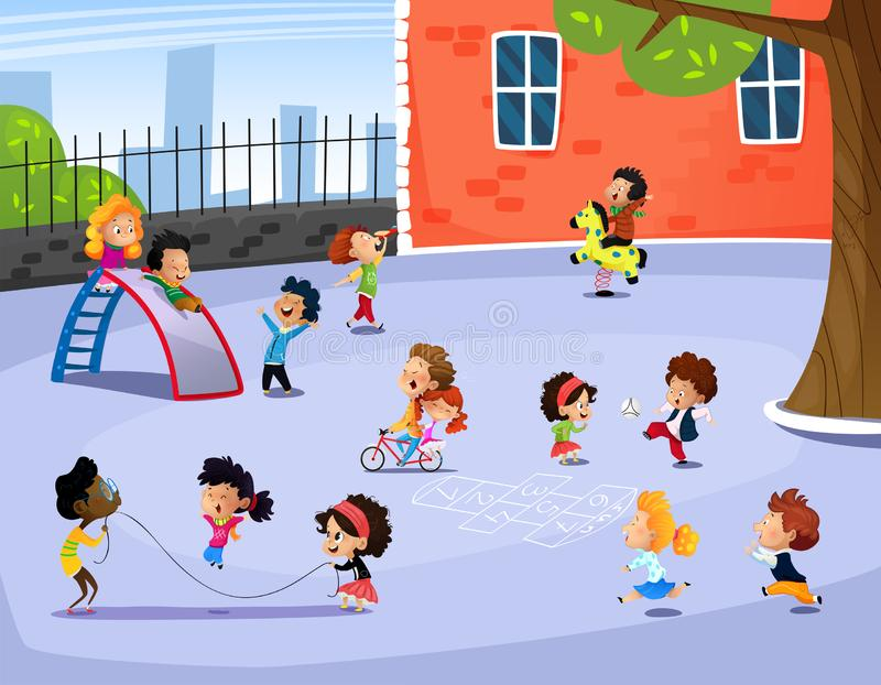 Vector illustration of happy children playing in playground vector illustration