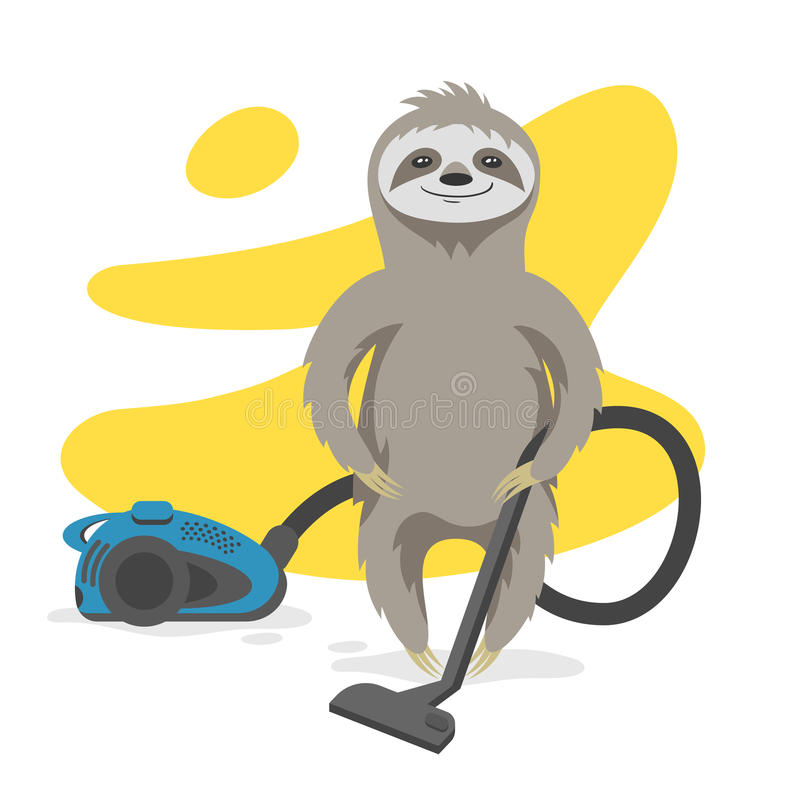 Vector illustration of happy cute sloth that makes cleaning. With a vacuum cleaner. Vector print for t-shirt or poster design royalty free illustration