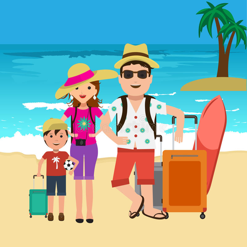 Vector Illustration Of Happy Family Going On Vacation ...