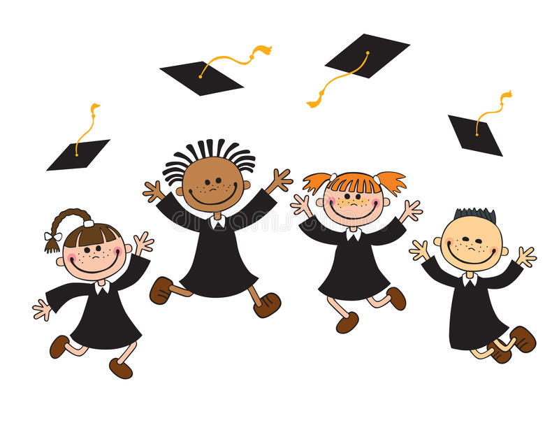 Vector illustration of happy graduates with mortarboard stock illustration