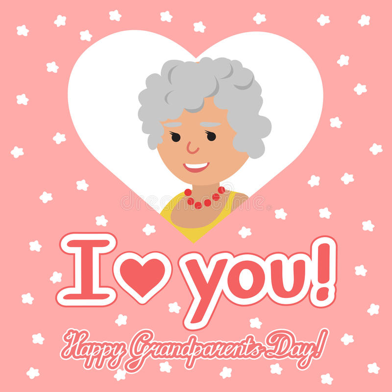 Vector illustration. Happy grandparents day. Elderly woman in heart with lettering. Happy grandparents day. Elderly woman in heart with lettering. Vector stock illustration