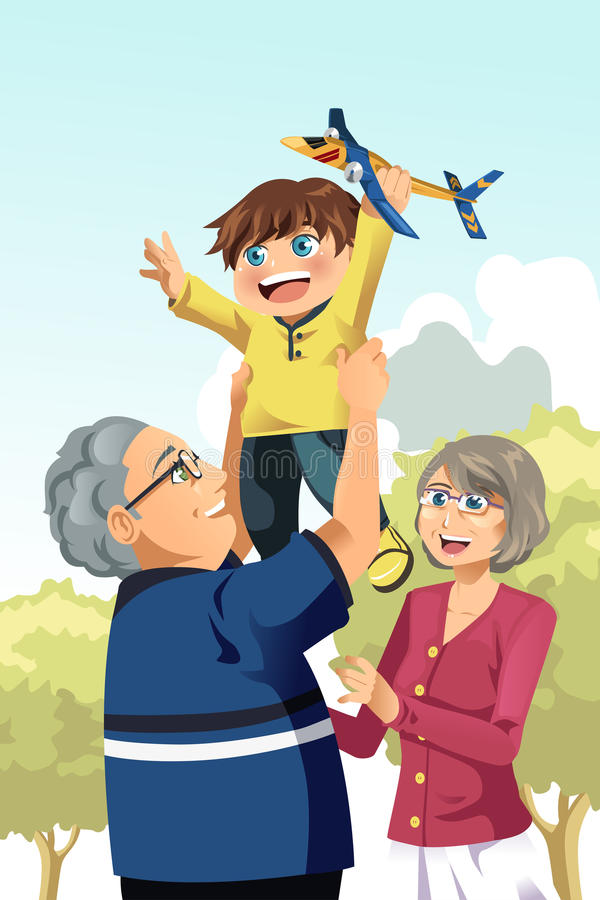 Grandparents and grandson playing stock illustration