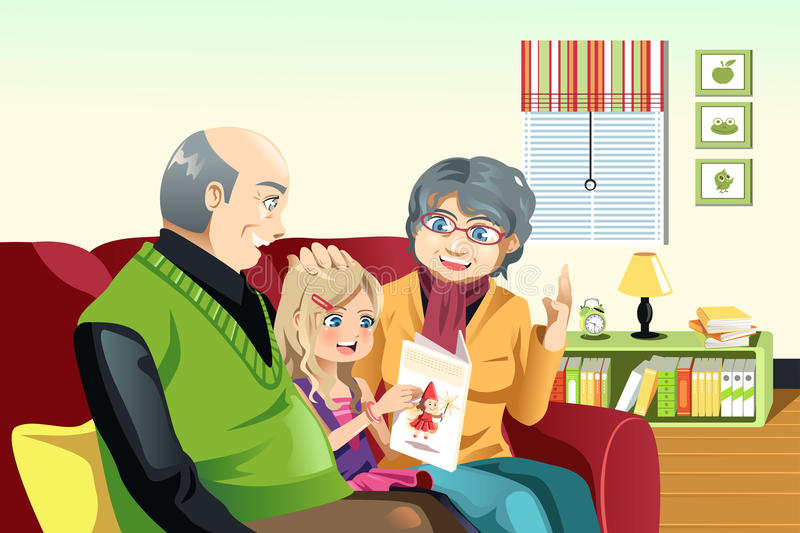Grandparents and grandaughter reading royalty free illustration
