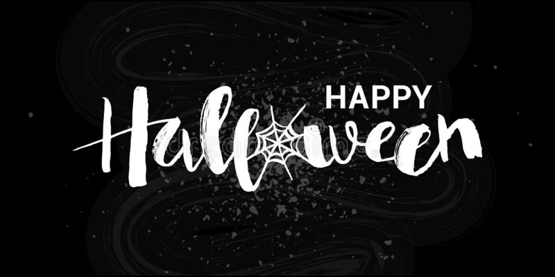 Vector illustration of Happy Halloween phrase with web. Hand drawn lettering for card, invitation, poster, banner. stock illustration