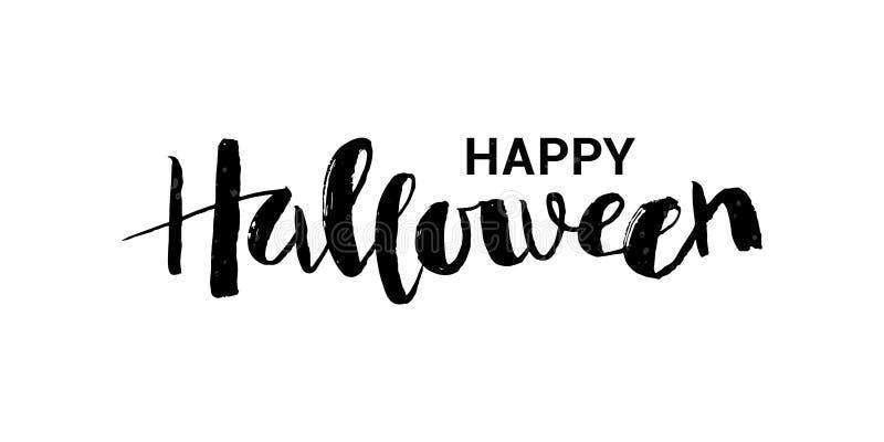 Vector illustration of Happy Halloween phrase with web. vector illustration