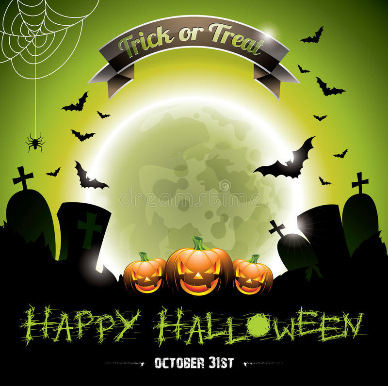 Vector illustration on a Happy Halloween theme with pumkins. royalty free illustration