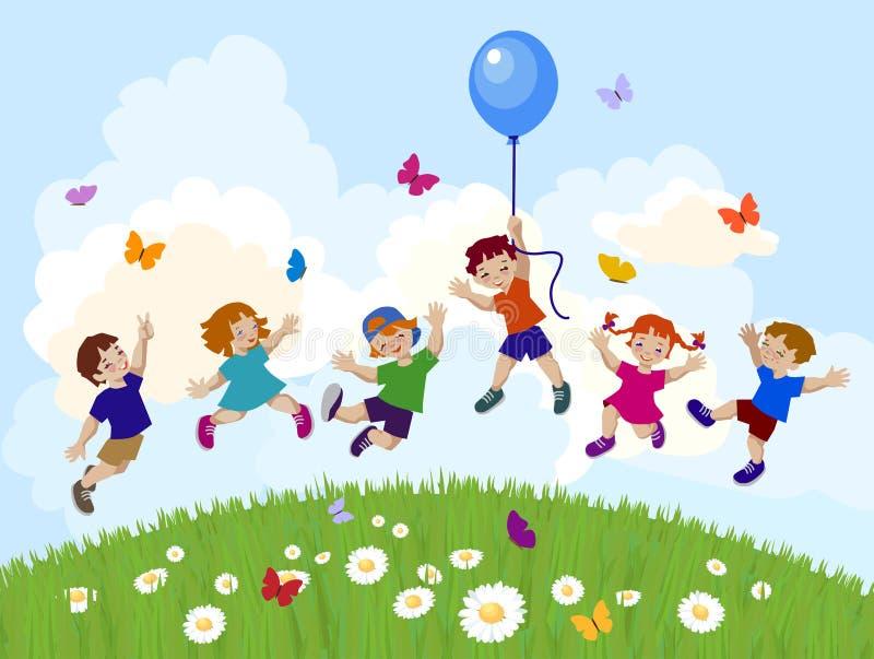 Vector illustration of happy kids jumping together. stock illustration