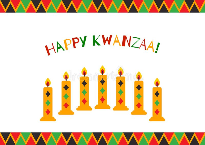 Vector illustration of Happy Kwanzaa holidays. Greeting card with menorah and candles.  royalty free illustration