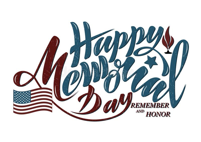 Vector illustration Happy memorial day, honor and remember. Hand royalty free illustration