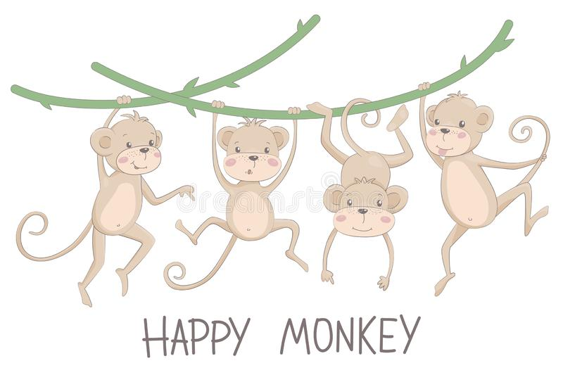 Vector illustration of a happy monkey and chimpanzee stock photography