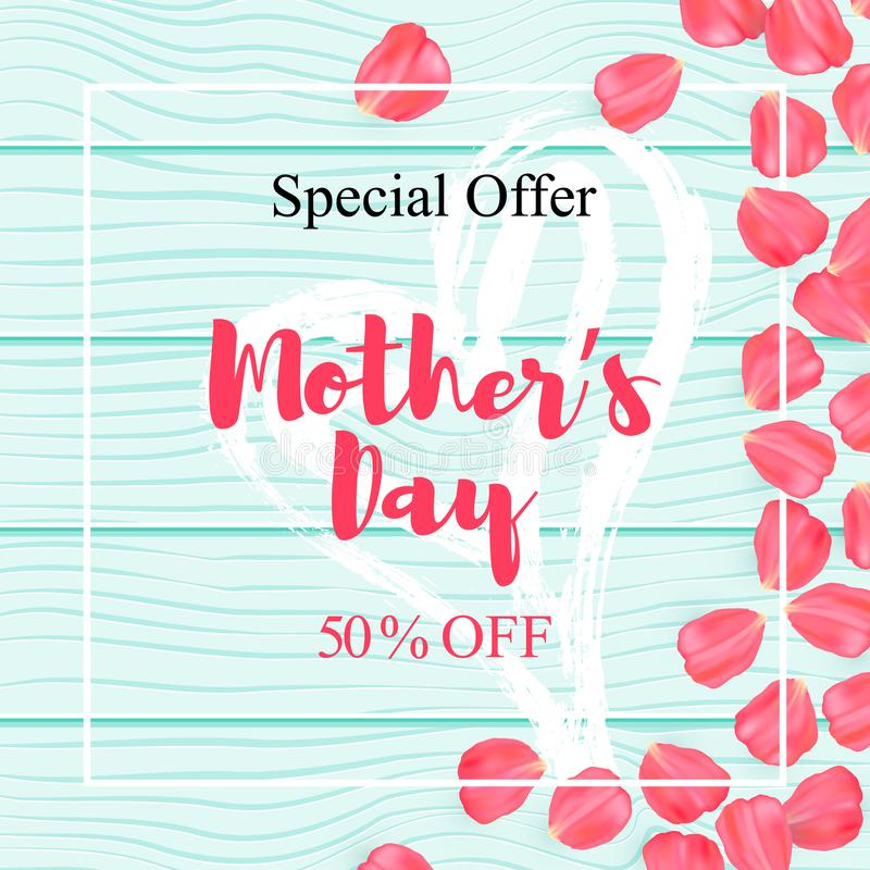 Happy mothers day sale poster with petal rose vector illustration