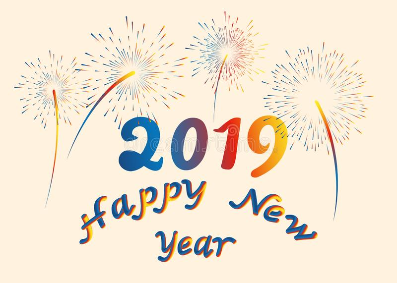 Vector illustration happy New year font with letters art design 2019 colorful fireworks. 3D lettering style rendering bubble font. Vector illustration happy New stock illustration