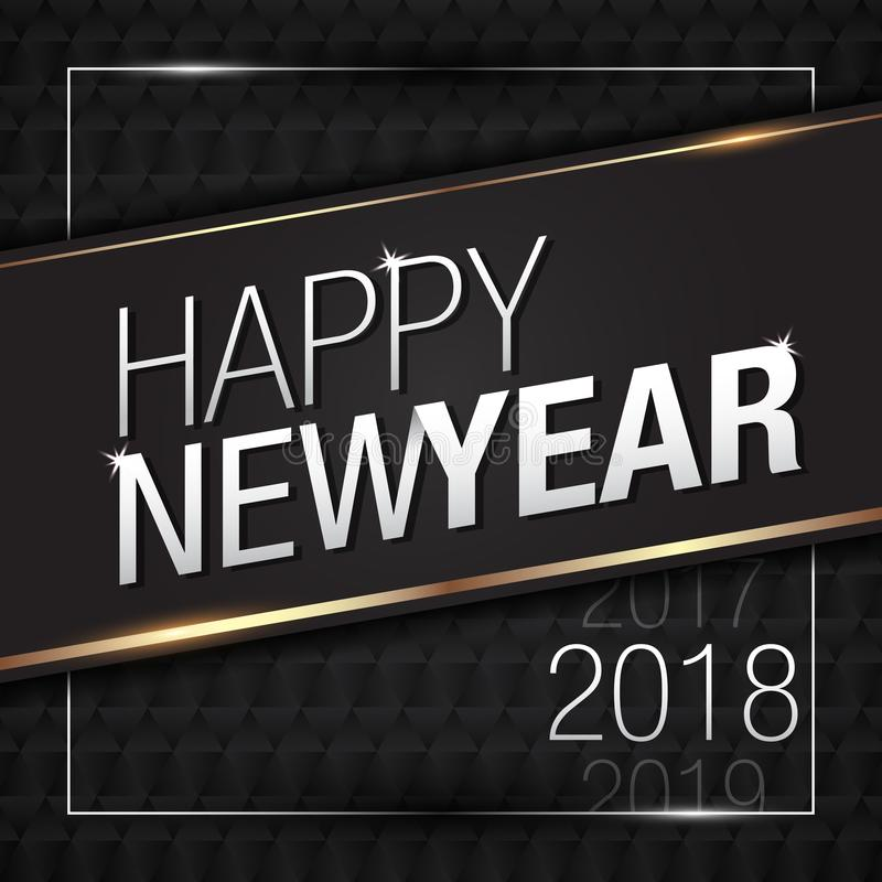 Vector Illustration of Happy New Year 2018 Gold with Black Pattern Colors. Vector Illustration of Happy New Year 2018 Gold with Black Elegant Pattern Colors vector illustration