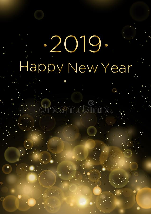 Vector illustration of 2019 Happy New Year greeting card background with gold dust and sparkles, blindfolds. Concept for stock illustration