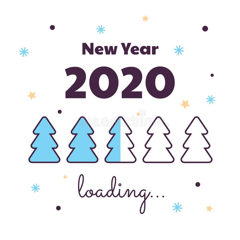 Vector illustration. Happy New Year. Loading 2020. Download screen with Christmas tree. Progress bar. Happy New Year. Loading 2020. Download screen with vector illustration